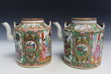 Two Chinese Rose Medallion Porcelain Teapots