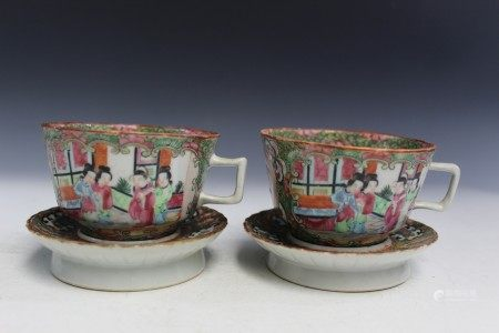 2 Sets of Chinese Rose Medallion Porcelain Teacups on Holders