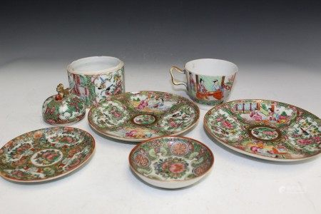 7 Pieces of Chinese Rose Medallion Porcelain Items