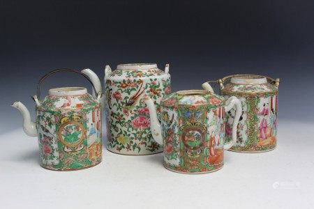 Four Rose Medallion Porcelain Teapots.