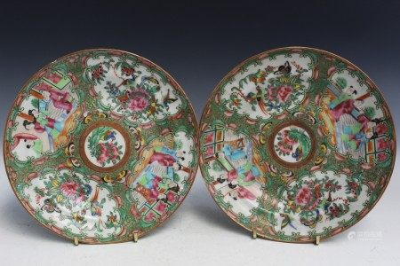 Pair of Chinese Rose Medallion Porcelain Dishes