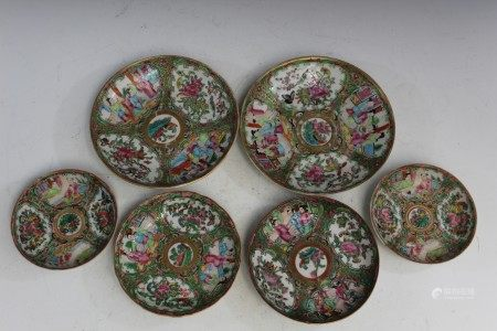 6 Chinese Rose Medallion Porcelain Dishes