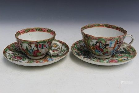 Two Chinese Rose Medallion Porcelain Teacups and Saucers