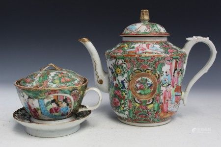 Chinese Rose Medallion Porcelain Tea Set.