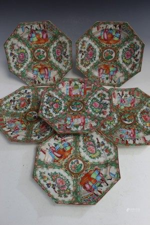 6 Chinese Rose Medallion Porcelain Octagonal Dishes