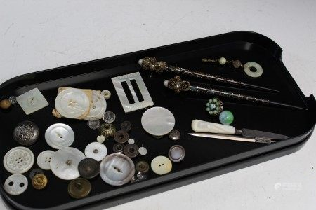 Tray Lot of Buttons and Hairpins.