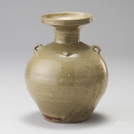 越州窯 東晉 青瓷盤口瓶