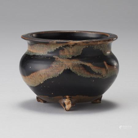 吉州窯 元代 玳玻釉香爐