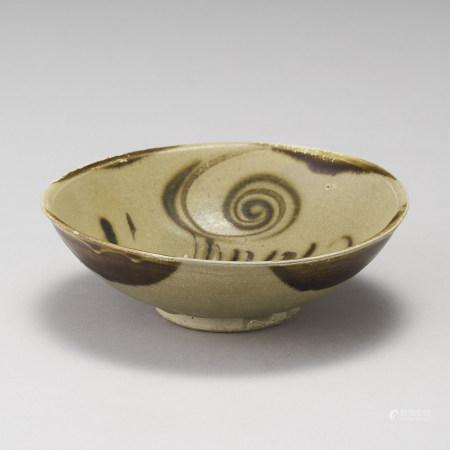 長沙窯 晚唐五代 黃釉褐彩碗
