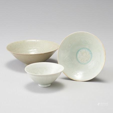 景德鎮窯 宋代 一組3件 青白瓷刻花紋碗一組