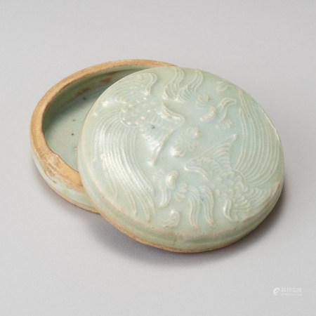 宋代 青白瓷雙鳳紋圓盒