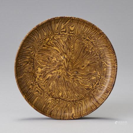 唐代 黃釉絞胎盤