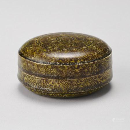 唐代 綠釉絞胎粉盒