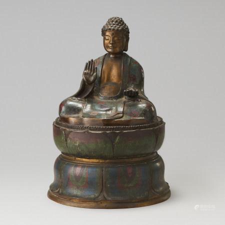 明代 銅胎掐絲珐瑯佛座像