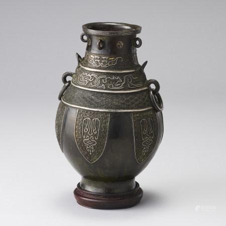 18世紀 有款 配原木座 銅嵌金銀龍耳尊