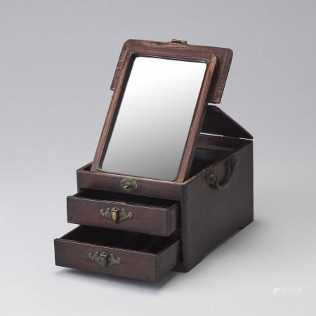 紅木鏡臺妝匣