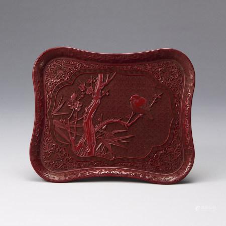 剔紅花鳥紋方盤