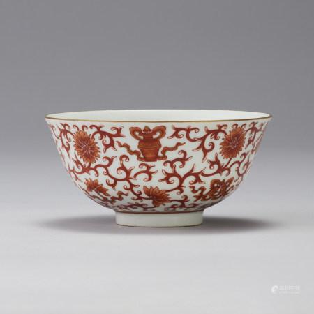 「大清道光年製」款 礬紅纏枝紋碗
