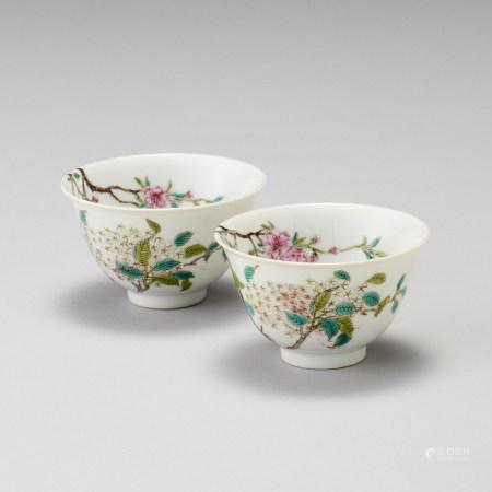 「大清道光年製」款 粉彩花卉紋碗一對