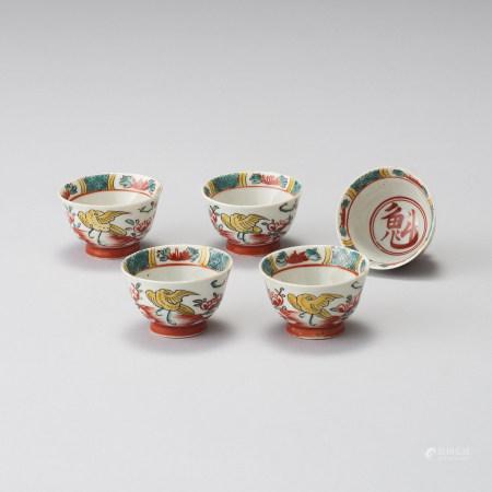 五彩煎茶碗五客