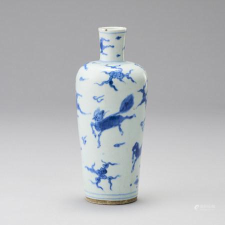 17~18世紀 青花海馬紋瓶