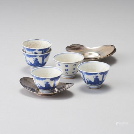 青花茶杯及純銀製托