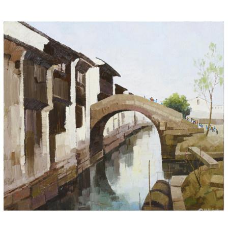 油画 鏡框 吳冠中 江南風景