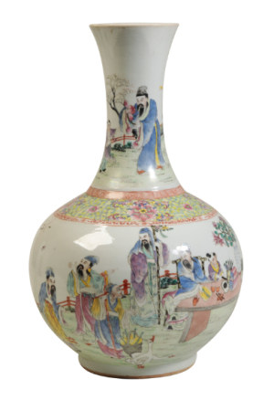 LARGE FAMILLE ROSE BOTTLE VASE, GUANGXU SIX CHARACTER MAR AND OF THE PERIOD