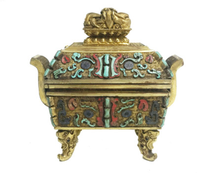 GILT-BRONZE AND HARDSTONE CENSER AND COVER,