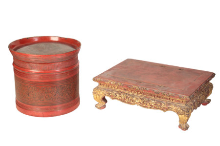 A CHINESE RED LACQUER STAND