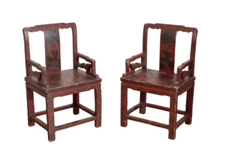 PAIR OF CHINESE EXPORT RED LACQUER ARMCHAIRS, LATE QING DYNASTY