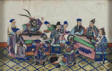 CHINESE SCHOOL 20TH CENTURY. COURT'S SCENE AND THEATRICAL ENTERTAINMENT. A PAIR OF MIXED MEDIA ON PAPER.