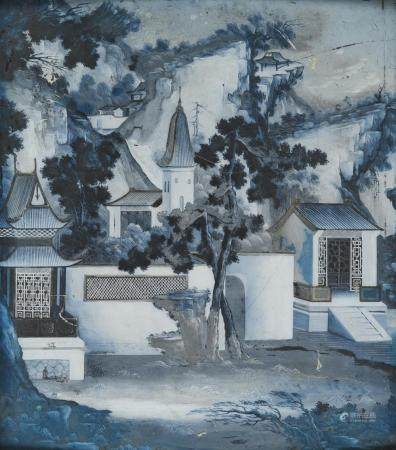 CHINESE SCHOOL 20TH CENTURY. MOUNTAINOUS VIEW. MIXED MEDIA ON GLASS.