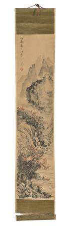 CHINESE SCHOOL 20TH CENTURY. MOUNTAINOUS LANDSCAPE. MIXED MEDIA ON PAPER.