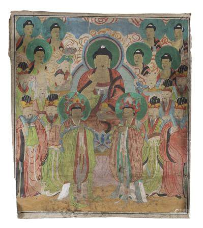 CHINESE SCHOOL 20TH CENTURY. BUDDHA AND BODHISATTVA. MIXED MEDIA ON SILK. DEFECTS AND STAINS.