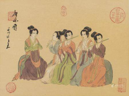 JAPANESE SCHOOL 20TH CENTURY. RITUAL PREPARATION. TWO MIXED MEDIA ON PAPER.