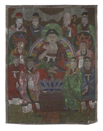 CHINESE SCHOOL 20TH CENTURY. BUDDHA AND BODHISATTVA. MIXED MEDIA ON SILK. DEFECTS.