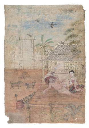 THAI SCHOOL 20TH CENTURY. EROTIC SCENE IN MIXED MEDIA
