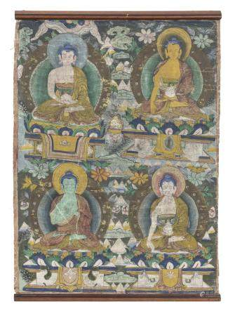 CHINESE SCHOOL 19TH CENTURY. BUDDHA MUDRA. TIBETAN THANGKA IN TEMPERA ON SILK.