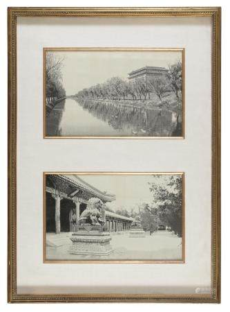 TWO CHINESE PHOTOGRAPHIC REPRODUCTIONS ON CANVAS. 20TH CENTURY. IN FRAME.