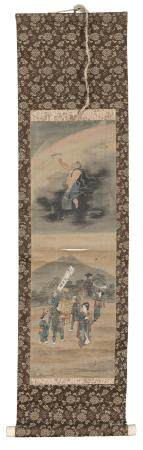 JAPANESE PAINTER SECOND HALF 19TH CENTURY. ALLEGORIES OF THE WIND THUNDER AND RAINBOW. THREE MIXED MEDIA ON PAPER. DEFECTS.