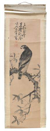JAPANESE SCHOOL 20TH CENTURY. HAWK ON BIG BRANCH. INK ON PAPER.
