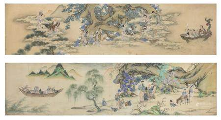 CHINESE SCHOOL 18TH CENTURY. IMMORTAL TAOISTS. PAIR OF MIXED MEDIA ON SILK.