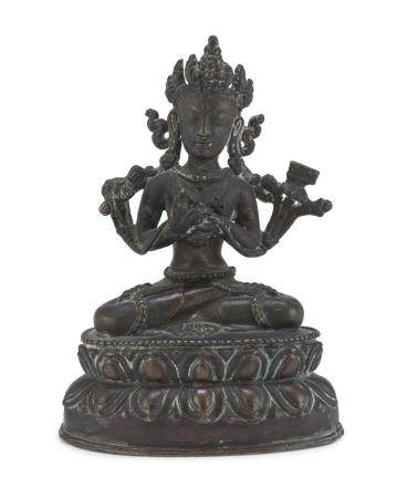 A TIBETAN BRONZE SCULPTURE OF TARA. FIRST HALF 20TH CENTURY.