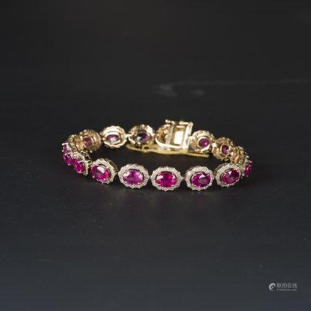 A RUBY & DIAMOND BRACELET, AIG CERTIFIED