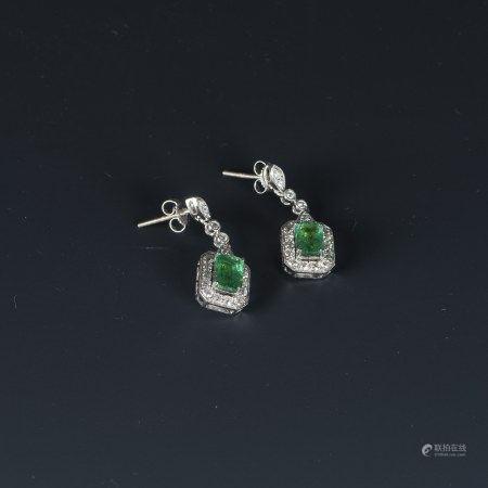 EMERALD & DIAMOND DANGLE EARINGS, AIG CERTIFIED