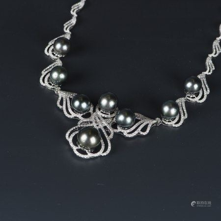 TAHITIAN PEARL & DIAMOND NECKLACE, AIG CERTIFIED
