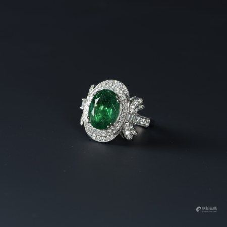 A EMERALD&DIAMOND RING,GIA &GIAL CERTIDIED