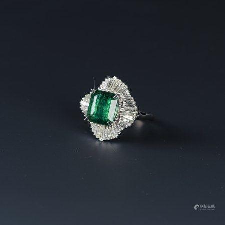 EMERALD & DIAMOND RING, AIG CERTIFIED