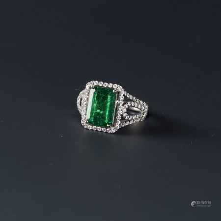 EMERALD & DIAMOND RING, AIGL CERTIFIED